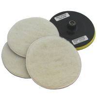 "7"" POLISHING KIT 3 VELCRO WOOL BONNETS  + BACKING PAD"