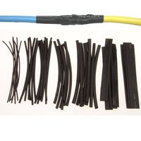 48 pc HEAT SHRINK TUBING WIRE WRAP SLEEVES BLACK COVER