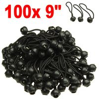 "BLACK- 100 pc 9"" Ball Bungee Cords Canopy Tarp Tie Down Straps"