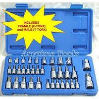 35 Sockets MALE/FEMALE TORX (Star) Set w/Holder