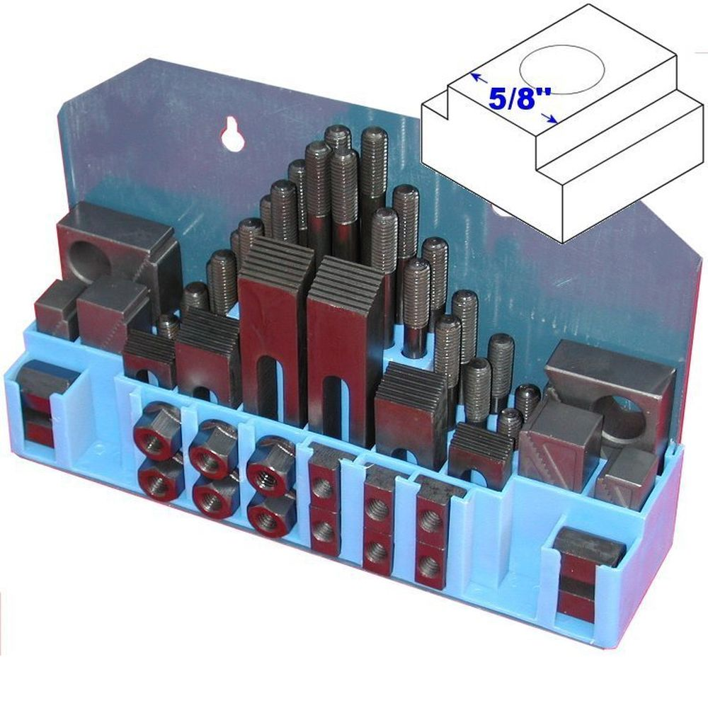 "58 Pcs Hold Down Clamp Clamping Set Kit Bridgeport Mill 5//8/"" Slot 1//2/""-13 Stud"