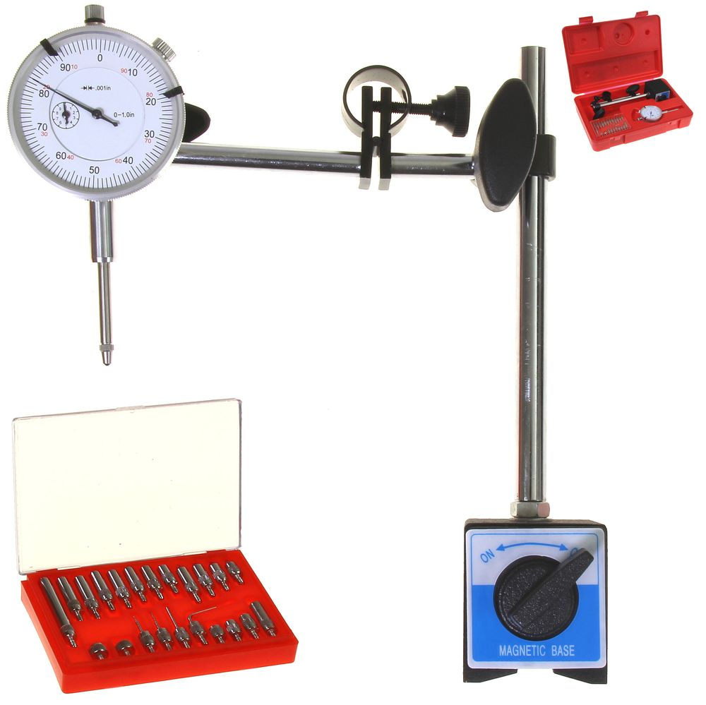 22 Point Set 1 Dial Test Indicator Magnetic Mounting Base Stand Fine Adjustment