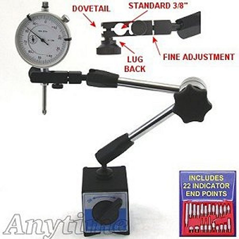 Dial Indicator Accessories : Hydraulic magnetic base holder dial indicator poin