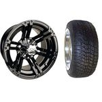 "12"" Specter Wheels, gloss black finish 3+4 offset w/ 215/40-12 Excel Classic Low Pro Tire"