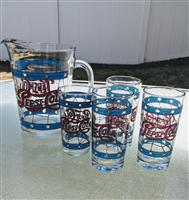 Stained glass like design pepsi cola pitcher glass