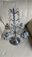 Silvertone tall candle holder vintage glass accent