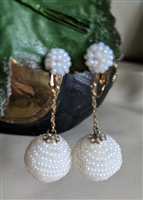Made in Japan drop clip on white beads earrings