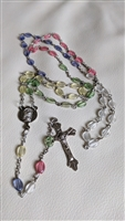 Rosary with clear but colorful beads metal cross
