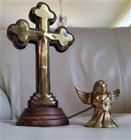 Wooden Cross and brass Angel snuffer set
