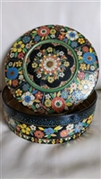 Lidded tin box with embossed design Holland