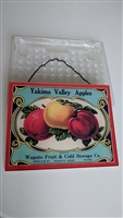 Glass reverse decoupage Yakima Valley Apples sign