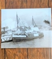 Old merchant ship black and white photo 14 by 11