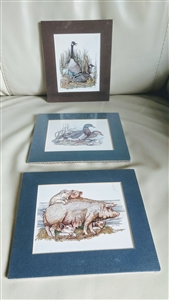 Lynn Bean ready to frame art pigs ducks geese