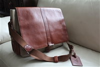 BOSCA messenger bag leather and fabric