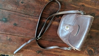 Michael Green thick brown leather shoulder bag