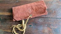 Trifold wallet clutch in burgundy suede leather