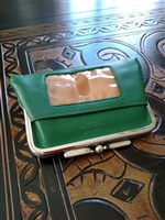 Green leather BUXTON large wallet