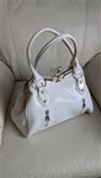 Large snakeskin pattern off white evening purse