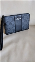 COACH genuine BlackCharcoal Pvc signature wristlet