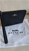 COACH genuine Pebble Black Pvc design wristlet