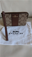 COACH genuine Brown Signature Pvc design wristlet