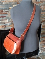 Handcrafted brown leather shoulder bag