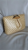 RODO natural glazed woven straw purse clutch Italy