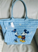 Huge Disney Mickey and Minnie blue PVC tote bag