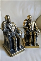 Abraham Lincoln bookends gold tone metal