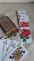 Elegant deck of cards in velvet box rose flower