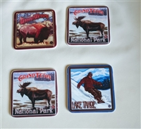 Porcelain Coasters bison moose and snowboarder