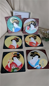 Bijinga Japanese art coasters set Peacock cards