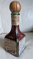 Nautical Italian glass bottle decanter leather