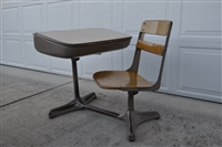 Metal and wood school desk unit mid 80s furniture