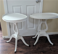 Mahogany Mersman 6651 Harp tables in white finish