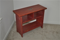 Refurbished solid wood storage shelf burgundy