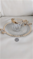 Tiara glass striped design creamer and tray decor