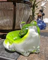 Large multi color glass Frog paperweight decor