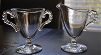 Imperial Glass creamer and open sugar bowl