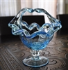 Murano Art Glass Crystal basket Italy blue