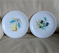 Westmoreland beaded edge fruit milk glass plates