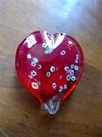 Red heart paperweight decorative display