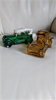 AVON glass bottles vintage automobiles set of two