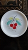 Milk glass cherries plate with beaded edges