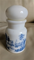 Belgian Milk Glass bottle with blue transferware