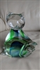 Clear glass Cat display green blue interior accent
