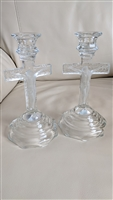 Set of two vintage glass Crucifix candle holders