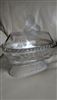 Antique Gilinder and sons frosted lions dish vase