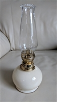 Italian glass beige colored kerosene lamp chimney