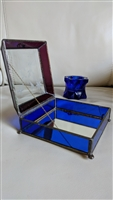 Cobalt blue purple glass humming birds storage